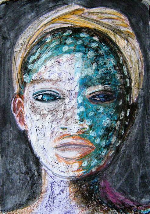 Tribal Face 20 x 30 cm Ilaria Berenice. Sold, fine art prints available
