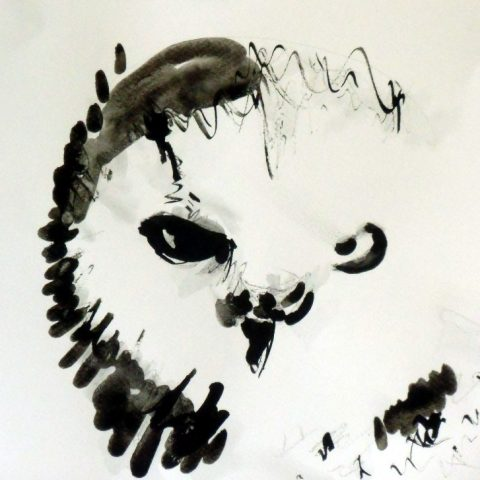 Owl with ink Ilaria Berenice. Sold, prints available.