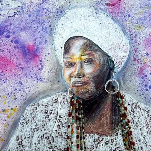 Bahian woman 70x80cm acryilic and collage on canvas_Berenice
