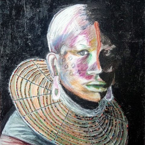 Dogon woman 70x80cm_mided media and collage on canvas_Berenice