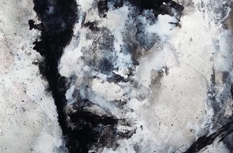 Black and white face in 3/4 - 25 x 33 cm